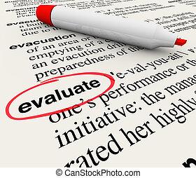 definizione, parola, feedback, dizionario, valutare,...
