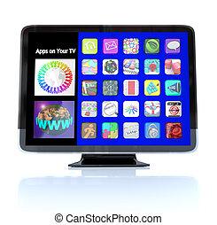 definizione, tegole, apps, televisione, alto, hdtv, icona