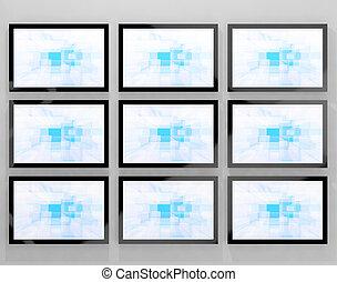 definizione, televisione, tv, monitor, alto, parete, hdtvs, montato, rappresentare, o
