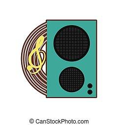 deflector, spreker, audio, muziek, spotprent