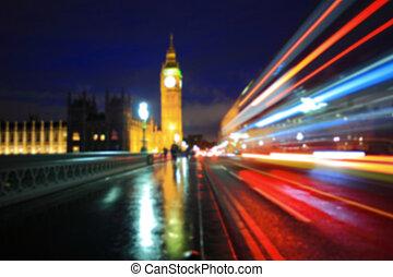 defocus bokeh blurred light of Big Ben and London at night, uk, united kingdom, England