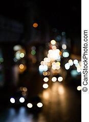 defocus, luces, bokeh, calle, fondo.