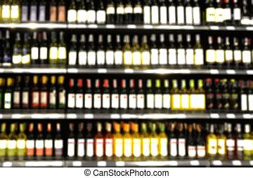 defocus, mensola, immagine, liquore, offuscamento, o, negozio, vino