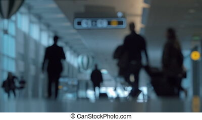 Defocus of passengers traffic in hall of the airport - Slow...