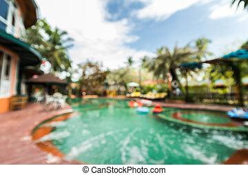 Defocus of pool with blue sky