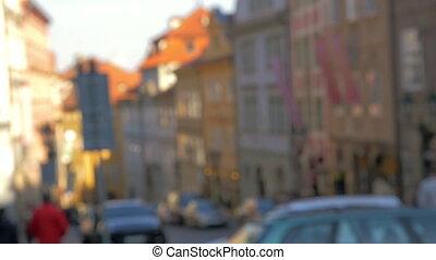 Defocus of street in Prague - Defocused shot of Prague...