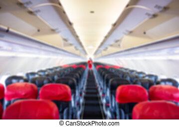 defocus, pasajero, avión, interior