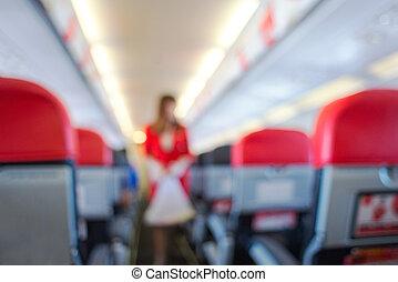 defocus, passager avion, intérieur