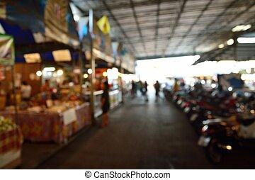 defocus, tradicional, fundo, borrão, local, ou, mercado