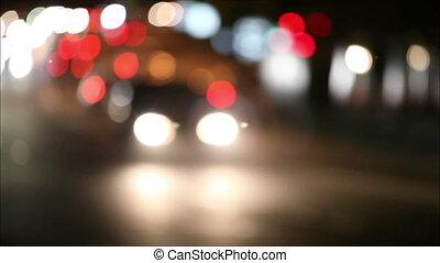 defocus, trafic, ville, nuit