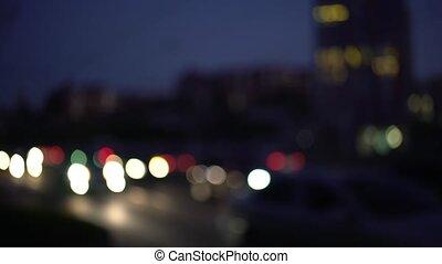 defocus, voiture, queue, phares, lumières