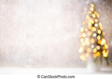 defocused, árbol de navidad, silueta, con, confuso, lights.