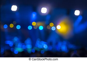 defocused, amusement, concert, bokeh, verlichting, op stadium