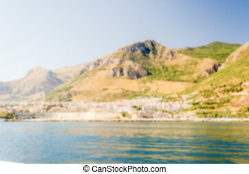 Defocused background of Castellammare del Golfo, Sicily