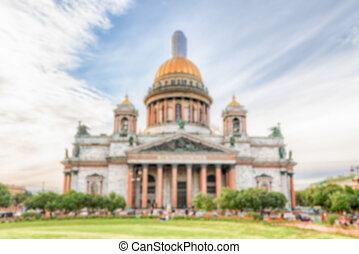 Defocused background of Saint Isaac's Cathedral in St. Petersburg, Russia