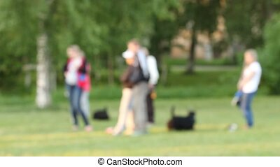 Defocused background of summer park with people and dogs