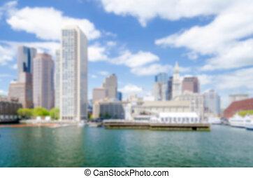 Defocused background of the Boston skyline