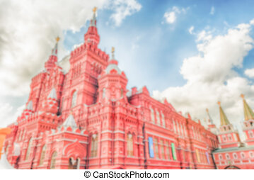 Defocused background of the State Historical Museum in Moscow, Russia