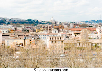 Defocused background with aerial view from Aventine Hill in Rome
