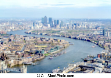 Defocused background with aerial view of London, UK