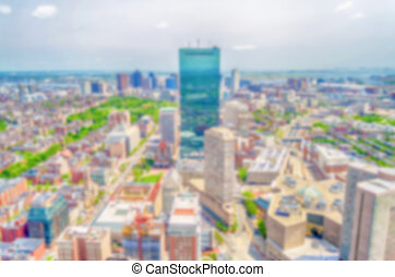 Defocused background with aerial view of Central Boston, USA