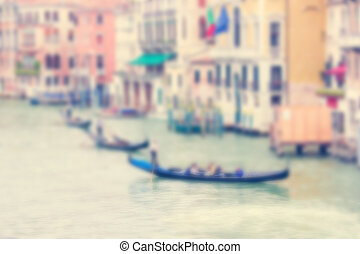 Defocused Background with Grand Canal and three gondolas in Venice