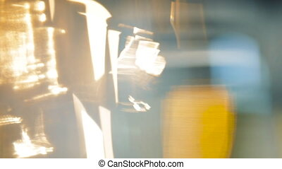 Defocused Bar With Drinks - Defocused lights and pints of...