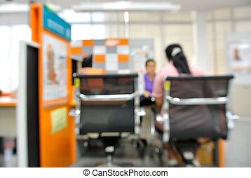 Defocused blur background of customer service center.