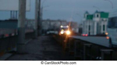 Blurred hyper-lapse of night overpass - defocused Blurred...