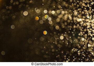 defocused, bokeh, borrão, vindima, pretas, dourado