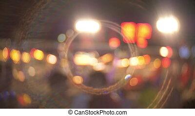 Defocused bokeh lights at night