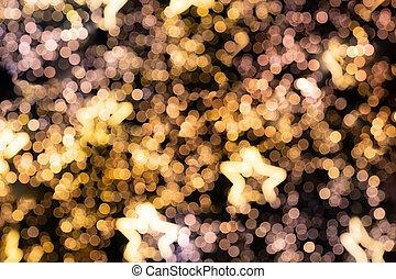 defocused bokeh luxury golden star light