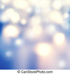 Defocused Bokeh twinkling lights - Glitter Abstract circular bokeh background of Christmas light. Blue, golden and white Vintage background.