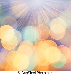 Defocused Bokeh twinkling lights Vintage background. Festive...