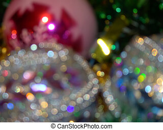 Defocused Christmas decorations - Abstract colorful photo of...