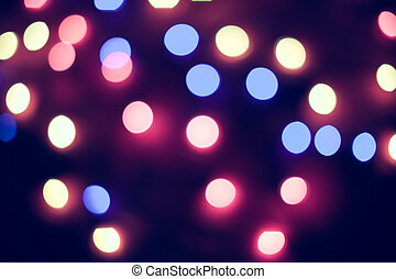 Defocused christmas lights. New Year bokeh. Abstract background