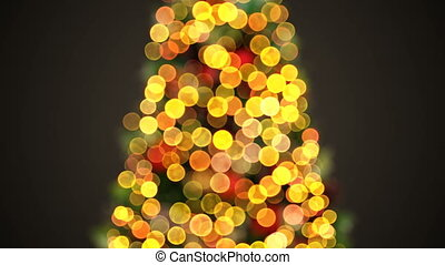 Defocused Christmas Tree Lights Flickering in Looped 3d...