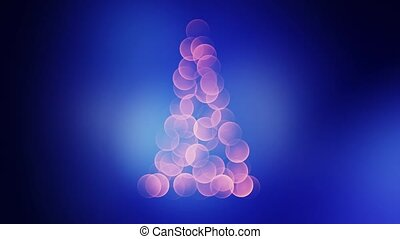Defocused christmas tree with colorful lights bokeh. 4k