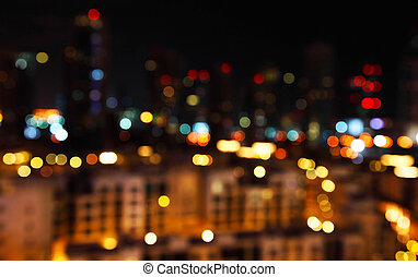 Defocused city lights - Abstract bokeh of defocused city...