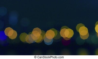 Defocused city lights in the night