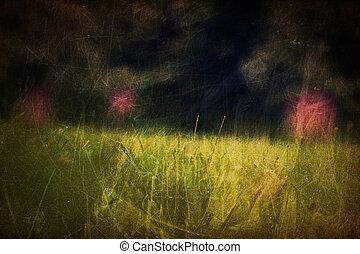 Defocused clover flowers on meadow. Vintage styled shot