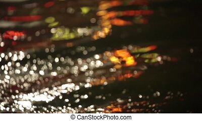 Defocused colorful water surface at night