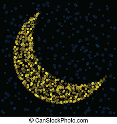 Defocused crescent moon - Crescent moon formed from golden...