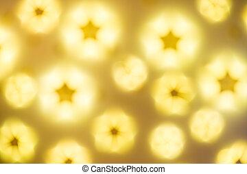defocused, dorado, resumen, navidad, resplandor, luces, estrellas, plano de fondo