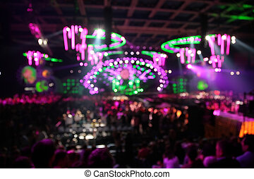 defocused, elvont, állati tüdő, alatt, nightclub., nagy, concert.