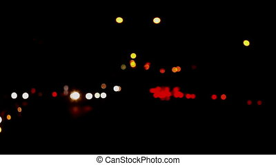 Defocused Fast Night Traffic Lights