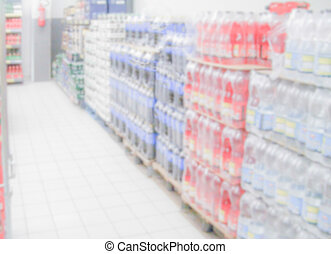 defocused, fondo, con, interiors, di, uno, supermercato, o, supermercato