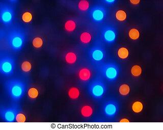 defocused, gefärbt, lichter, von, fokus