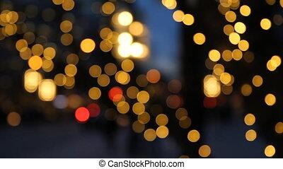 Defocused holiday lights.