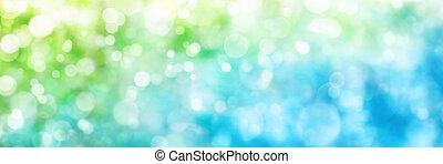 defocused, hoogtepunten, in, groen en blauwe, panorama, formaat